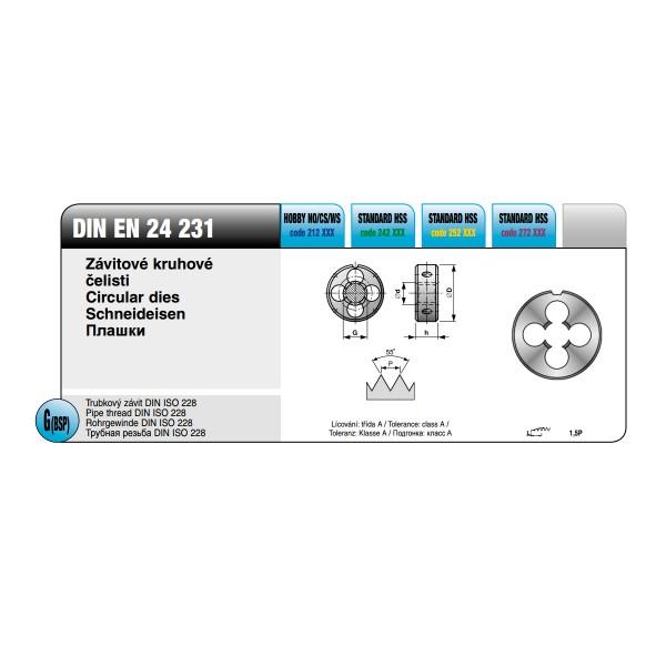 Плашки инчова тръбна резба HSS, DIN EN 22 568