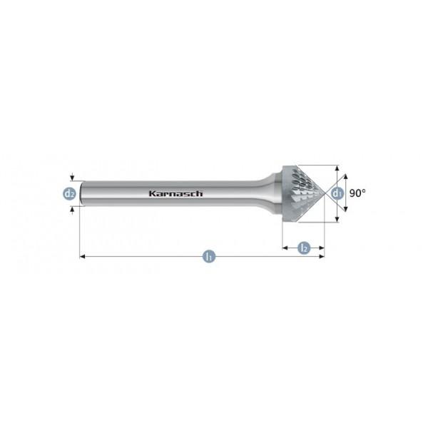 Фрезер за метал, форма KSK , конусна глава 90°, HP-3-CUT