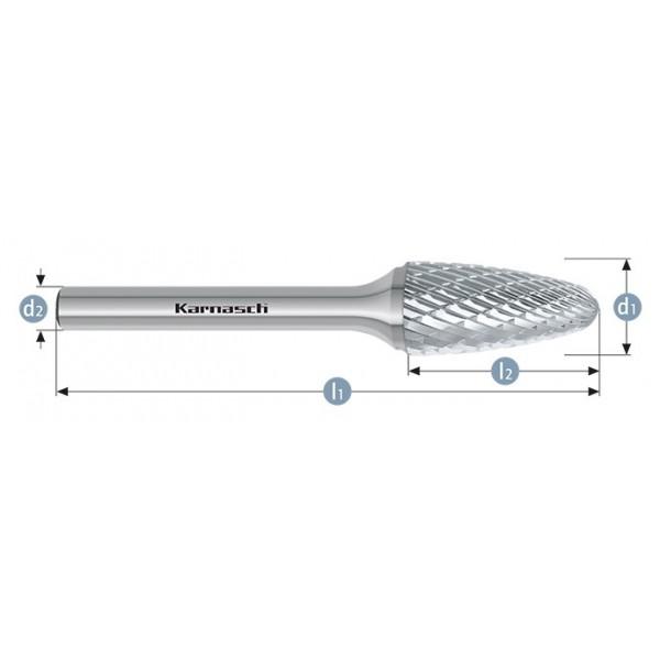 Фрезер за метал, форма RBF , дъговидни с овален връх, HP-3-CUT