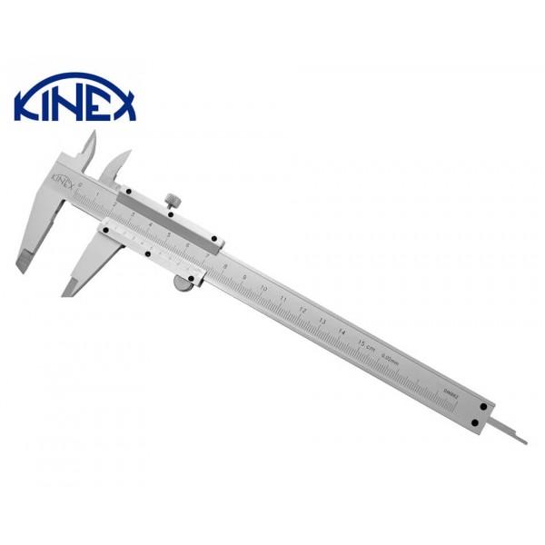 Шублер KINEX със заключващ винт и дълбокомер 0-150 mm, 0.02 mm